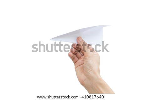 Man throwing a paper airplane/planes with right hand over white background