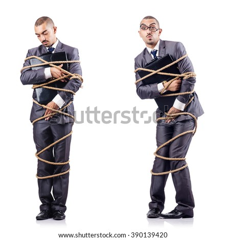Man tied up isolated on white - stock photo