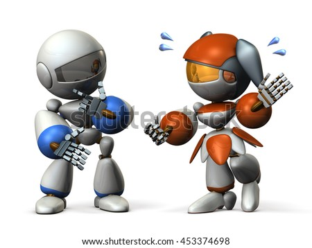 Man to be fed up with the talkative woman. 3D illustration - stock photo