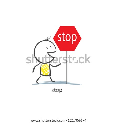 Man To Stop Sign - stock photo