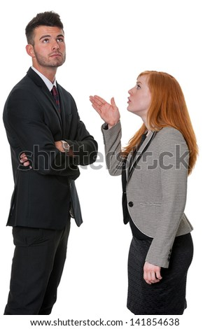Man told off by woman - isolated on white - stock photo