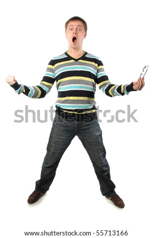 Man took off his glasses, opened his mouth and yells. Full length - stock photo