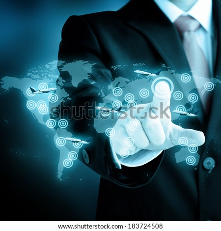 man touch on virtual screen for world business travel transport concept - stock photo