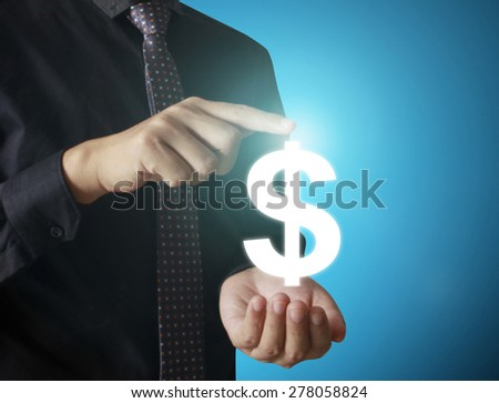 Man touching online button with money icon, money concept