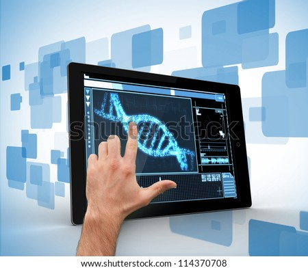 Man touching tablet pc with DNA interface on blue and white background - stock photo