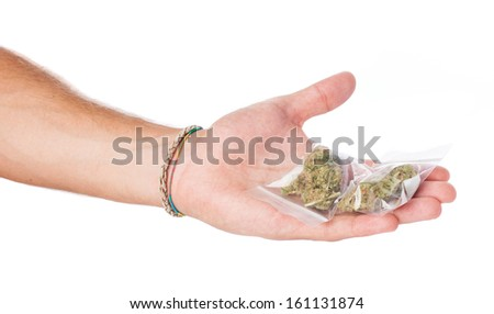 man trading marijuana isolated on a white background - stock photo