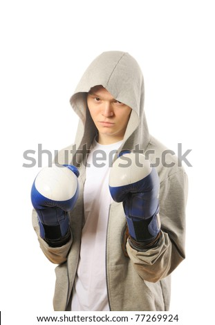 Man training boxing Isolated on white background