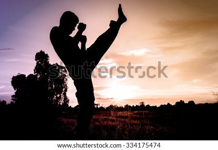 man training karate or boxing on grass field at sunset. - stock photo