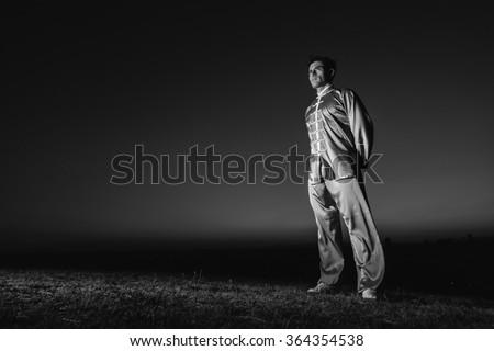Man Training Wushu - stock photo