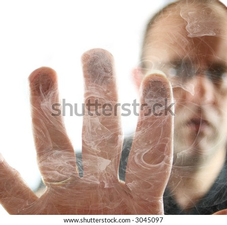 Man Trapped in Smokey Room - stock photo