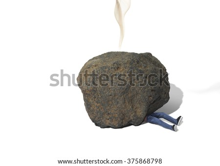 Man Trapped Under Meteorite or Boulder - stock photo