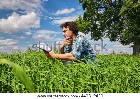 man travel in field summer