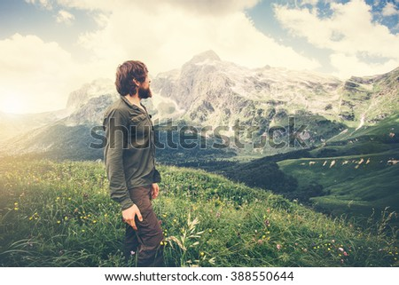 Man Traveler hiking Travel Lifestyle concept beautiful mountains landscape on background Summer journey adventure vacations outdoor - stock photo