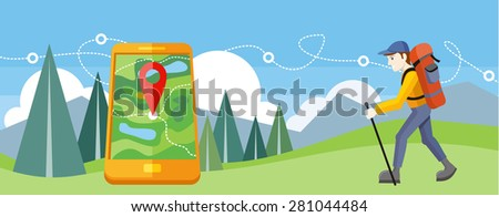 Man traveler with backpack hiking equipment walking in mountains. Mountain tourism concept in cartoon design style. Man with GPS navigation. Raster version - stock photo