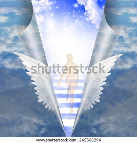 Man travels up stairway into heavens - stock photo
