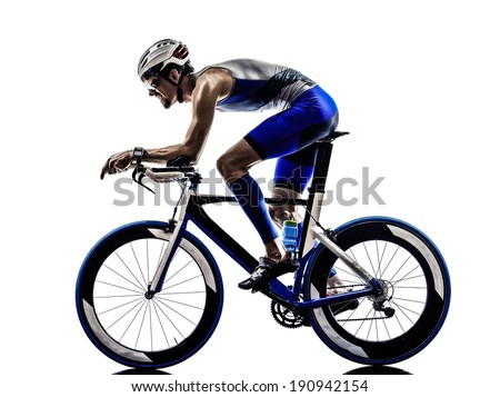 man triathlon iron man athlete bikers cyclists bicycling biking  in silhouettes on white background - stock photo