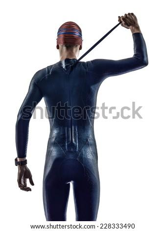 man triathlon iron man athlete swimmers in silhouette on white background - stock photo