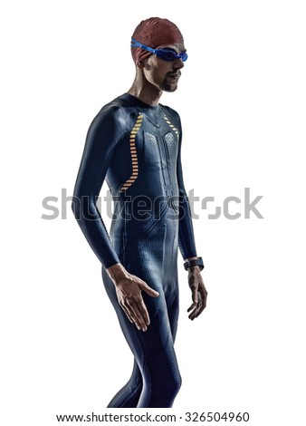 man triathlon iron man athlete swimmers stock photo
