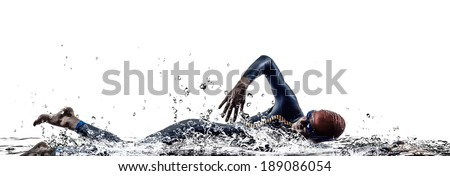 man triathlon iron man athlete swimmers swimming in silhouettes on white background - stock photo