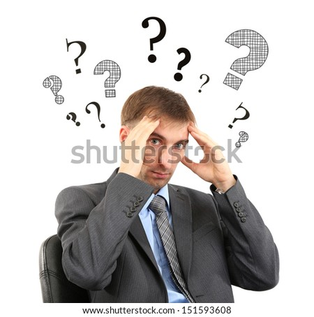Man tries find answers to questions isolated on white - stock photo