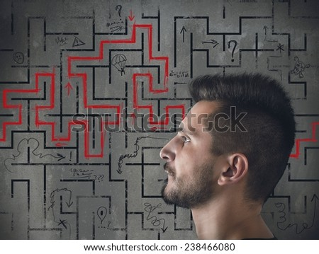 Man tries to find a way out - stock photo