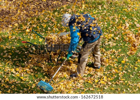 Man trying to clean up the lawn from autumn leaves - stock photo