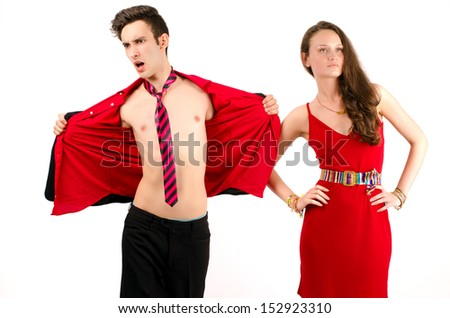 Man trying to impress a beautiful woman - stock photo