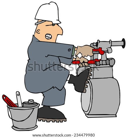 Man trying to loosen a gas meter - stock photo