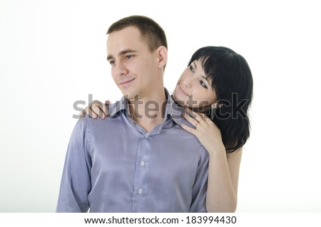 man turned away from the woman, she is waiting for him. white background - stock photo