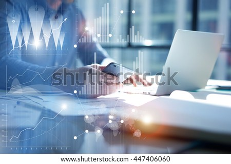 Man Typing Laptop,use Smartphone Hand.Project Manager Researching Process.Business Team Work Startup modern Office.Global Strategy Virtual Icon.Innovation Graphs Interface.Analyze market stock.Blurred - stock photo