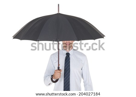 man under an umbrella on a white background