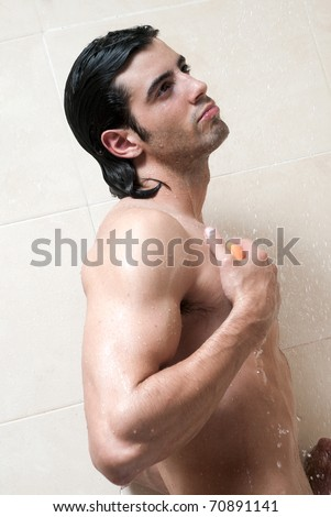 man under the shower