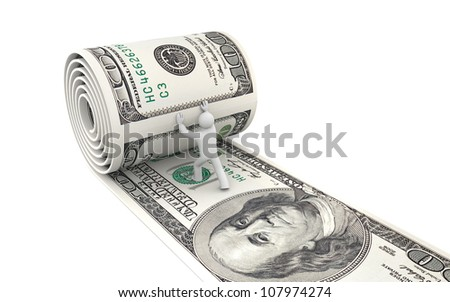 Man unreel a roll of dollars. Image contain clipping path