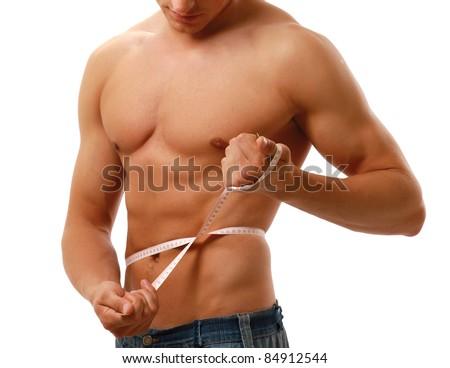Man use measurement tape - stock photo