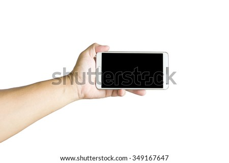 Man use mobile phone on white background.