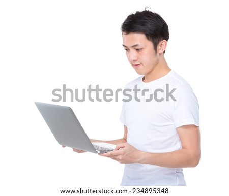 Man use of laptop