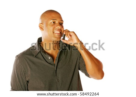 Man using Cell Phone on isolated background - stock photo
