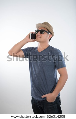Man Using Cell Smart Phone and Drinking coffee on White Background