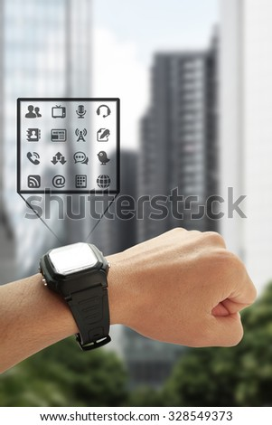 Man using his smart watch