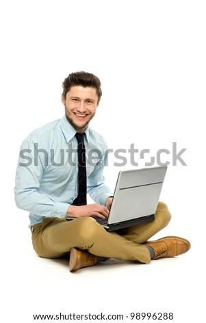 Man using laptop - stock photo