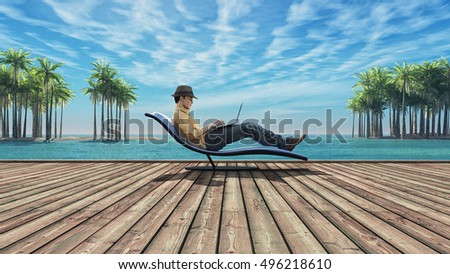 Man using laptop on a wooden ground at the beach of island, among the palms. This is a 3d render illustration