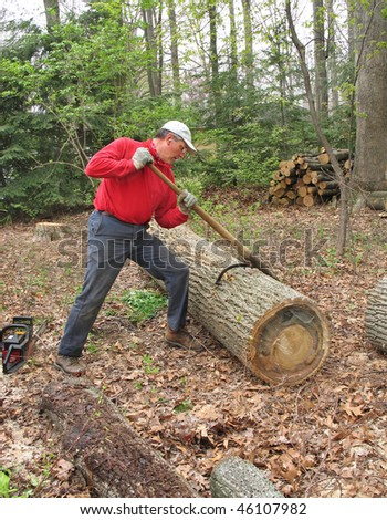 Man using peavey to move large log - stock photo