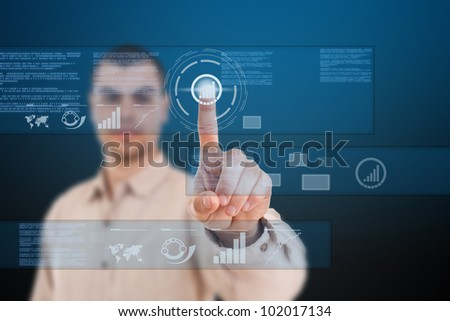 Man using technologies of the future - stock photo