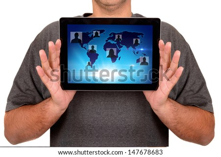 man using touchscreen isolated in white