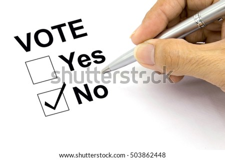 Man Voting no check-box