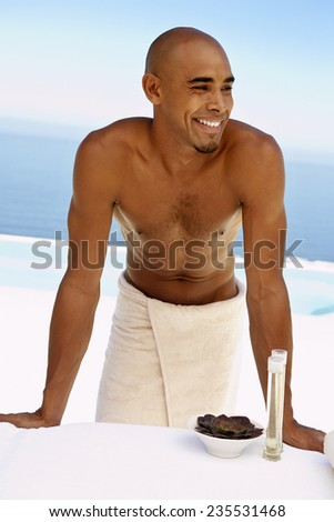 Man Waiting for a Massage - stock photo