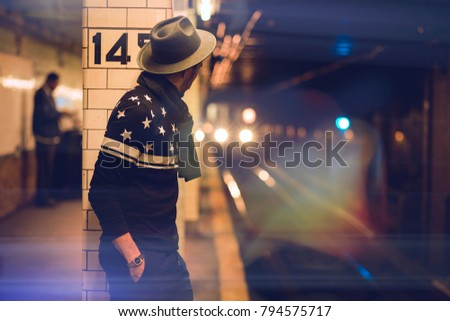 Man waiting for the subway in New York