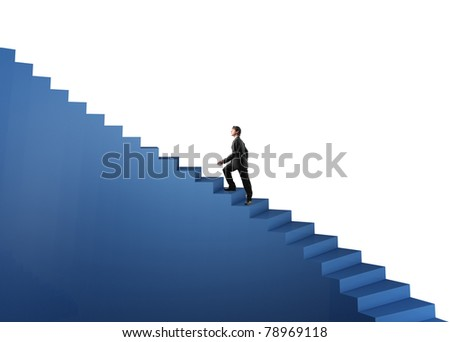 man walk on 3d blue stair