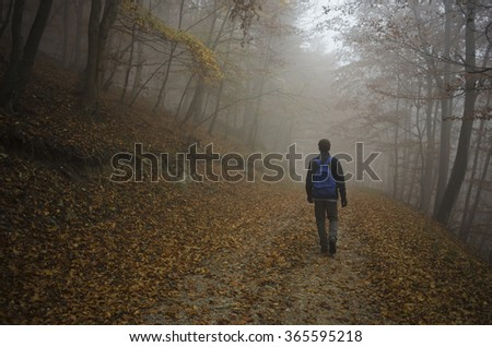 man walking in a foggy autumn forest alone - stock photo