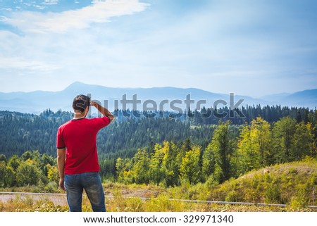 Man walking in the mountains alone